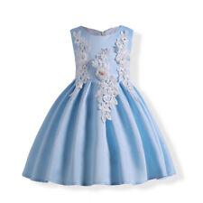 Girl Wedding Bridesmaid Embroidered Beaded Flower Evening Sleeveless Dress O107