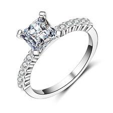 Classic Princess Cut 1ct Diamonique Cz 925 Silver Women's Wedding Ring Size 5-10