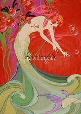 Vintage Flowing Art Deco Mermaid Quilting Fabric Block
