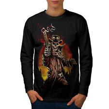 Western Cowboy Cool Skull Men Long Sleeve T-shirt NEW | Wellcoda