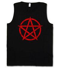 RED PENTAGRAM SIGN TANK TOP VEST - Satan Crowley Pentagramm Satanic Circle 666