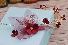 Women Flower Girl Gold Leaf Veil Party Wedding hair headpiece headband Garland