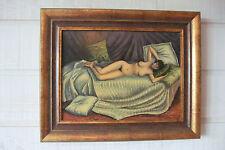 """Peinture reproduction CAILLEBOTTE """"Femme nue étendue sur un divan"""" (acrylique)"""