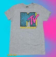 New MTV Finger Print Logo Mens Gray Vintage Classic T-Shirt