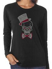 Grinning Skull Tophat Rhinestone Women's Long Sleeve Shirts Halloween