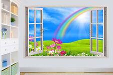 RAINBOW ON FLOWER FIELD BLUE SKY 3D WALL STICKER ROOM DECORATION DECAL MURAL