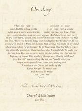 Love heart song lyrics personalised print - anniversary, valentines, wedding