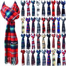 Winter Mens Womens Plaid Wool 100% CASHMERE Stripe Scarf SCOTLAND Made Scarves