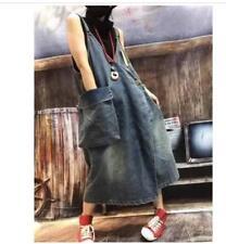 Vintage Women Denim Dresses Boho Sleeveless Summer Long Maxi Jean Dress Plus