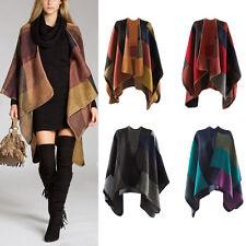 Women Scarf Winter Patchwork Plaid Poncho Cape Poncho Blanket Cloak Wrap Shawl