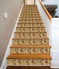3D Floral Pattern 2 Stair Risers Decoration Photo Mural Vinyl Decal Wallpaper AU