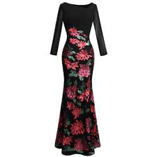 Angel-fashions Lange Ärmel Rose Muster Paillette Schwarz Formelle Kleidung 396