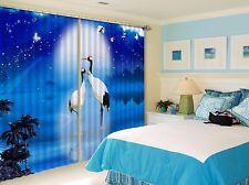 3D White Crane 6Blockout Photo Curtain Printing Curtains Drapes Fabric Window CA