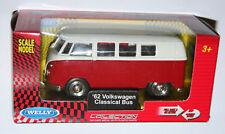 Welly -'62 Volkswagen Vw Classical Bus (Rojo) Die Cast Modelo Escala 1/38