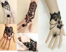 Bracelet Bague Vintage Rétro Gothique Ancien Perles Rose et dentelle Noire