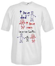 T-shirt Maglietta J977 Love Dad and Mom I Love My Family