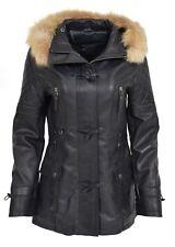 Womens Slim Fit Duffle Leather Coat Detachable Hoodie Classic Parka Navy Blue