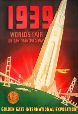 1939 - Worlds Fair San Francisco - Golden Gate Expo - Travel A3 Art Poster Print