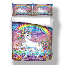 Unicorn Rainbow Duvet Quilt Doona Cover Set Single Queen King Size Bed Linen Set