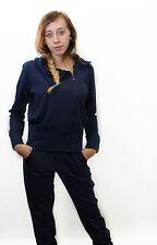 Felpa blu da donna Deha zip asimmetrica casual moda manica lunga cotone