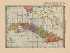International Map - Cuba - Hammond's Atlas 1910 - 30.08 x 23