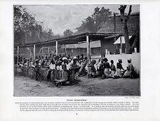 1897 Vittoriano Stampa ~ AFRICA ~ Fetish Culto Benin tribù JU-JU inginocchiata verso il basso