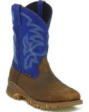 "Tony Lama Work Boots Mens Steel Toe Tan 11"" Blue Gaucho VIBRAM TW5010"