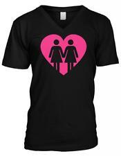 Heart Love Gay Women Lesbian Pride Same Sex Marriage Mens V-neck T-shirt