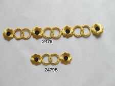 #2479 Gold Trim Fringe,Gold Black Flower,Gold Ring Embroidery Applique Patch