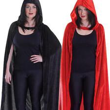 Long Velvet Hooded Cloak Adults Halloween Fancy Dress Mens Ladies Costume New