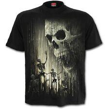 Spiral Waxed Skull T Shirt - Black - Mens