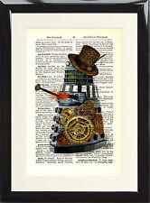Steampunk Dalek Dictionary Page Art Print Dr Who Cyberman Vintage Hat Doctor Fan
