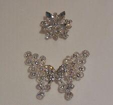 Novia boda pedrería Mariposa Broche Pin/Floral Pedrería Motif Craft