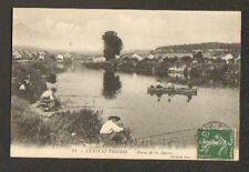 CHATEAU-THIERRY (02) PECHEUR à LA LIGNE en BORD DE MARNE tres animé , en 1908