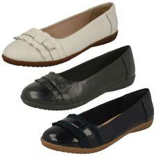 Ladies Clarks Smart Slip On Leather Dolly Shoes Feya Island