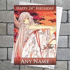 Chobits birthday card: Personalised, plus envelope. Anime / Manga.
