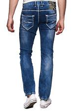 RUSTY NEAL Herren Designer Jeans, Straight Fit, Dicke Naht, Dunkelblau stonewash
