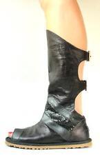 new AUSTRALIA LUXE 'Sherazade' Black metallic mesh GLADIATOR boots shoes - HOT