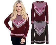 New Ladies Women Knitted Crew Neck Long Sleeve Fairisle Aztec Jumper Top Sweater