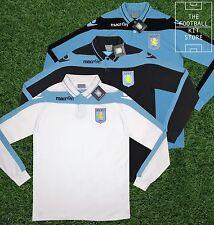 Aston villa polo shirt - 100% COTONE-A Maniche Lunghe-AVFC Football-Da Uomo