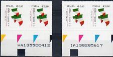2011 Italia Repubblica 150° Unità d'Italia 1° e 2° Tir. vere differenze