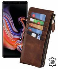 Samsung Galaxy Note 9 Hülle Echt Leder Handy Tasche Slim Case mit Reißverschluss