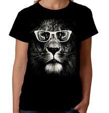 Velocitee Damas Bueno León Camiseta Grande Animal cara felina gato de moda A19404