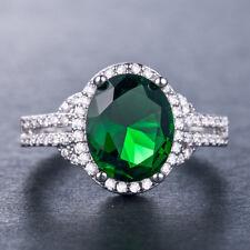 Women 925 Silver Jewelry Oval Cut Green Emerald Elegant Wedding Ring Size 6-10