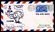 US# 933 1ST FLIGHT HOUSTON - DALLAS TX POSTMASTER SIGNATURE 1947 - VF  (ESP#070)