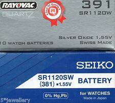 NUOVO SEIKO o Rayovac Batterie per Orologi 381 SR1120SW Hi-Drenaggio 391 SR1120W LO-Drenaggio