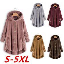 Plus Size Womens Winter Hooded Fluffy Coat Fleece Fur Jacket Loose Tops Cover US