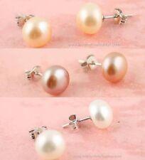 1 Pair Sterling Silver 925 Fresh Water Pearl Pierced Earrings Cream White, Pink