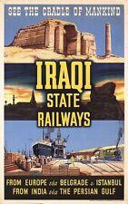 Vintage Estado iraquí ferrocarriles cuna de la humanidad cartel A3 impresión
