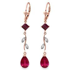 Natural Ruby Gemstones & Diamonds Chandelier Leverback Dangle Earrings 14K. Gold